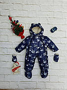 Зимний детский теплый комбинезон-трансформер 2в1 на овчине от 0 до 1 года: курточка, конверт, комбинезон