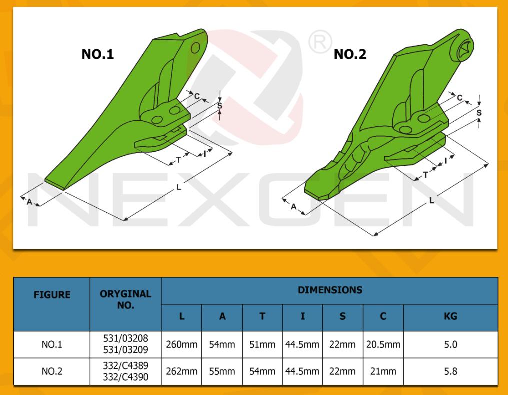 Зуб на ківш бічної на екскаватор-навантажувач JCB 3cx, 4cx 531/03208, 531/03209