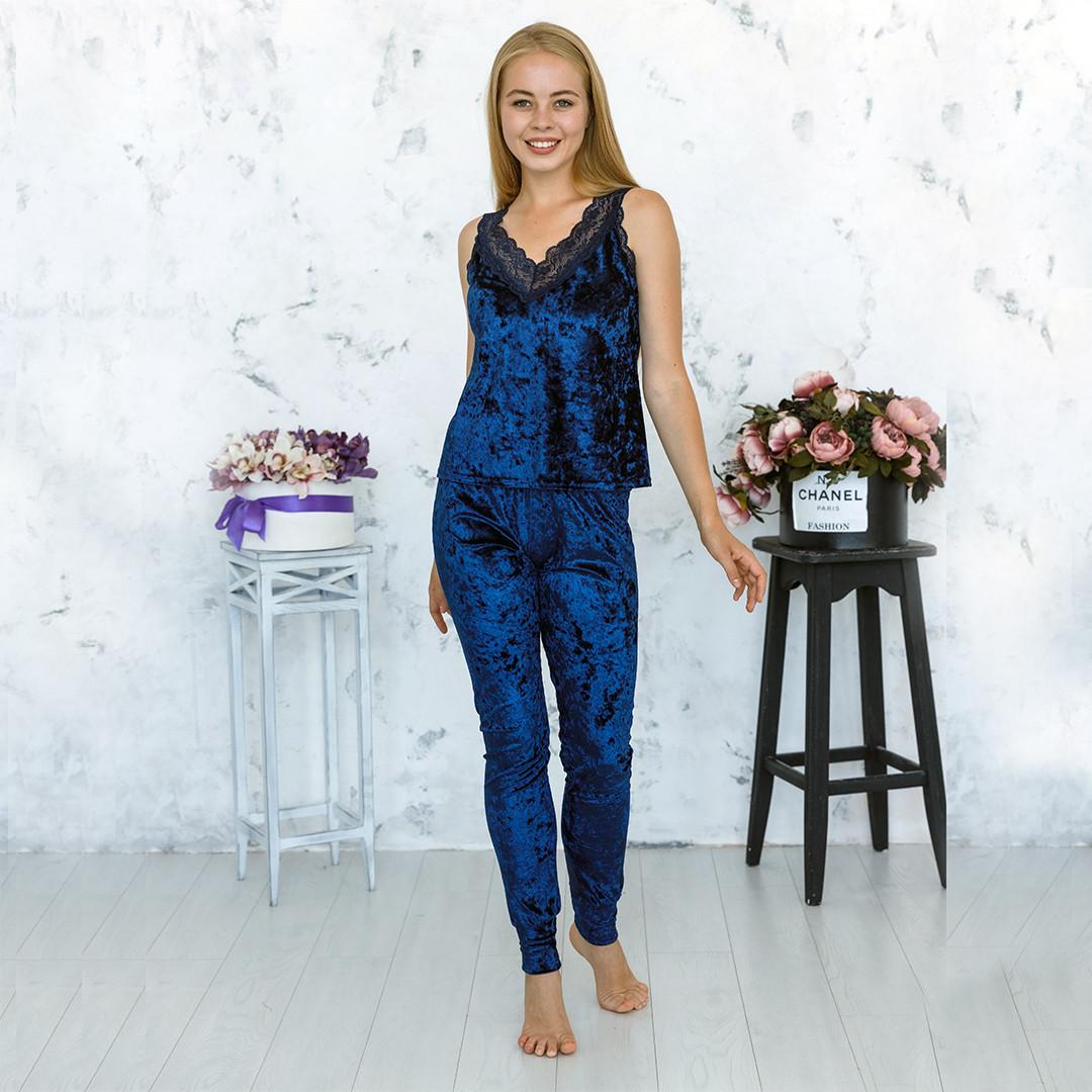 Піжама жіноча оксамитова майка і брюки темно-синього кольору