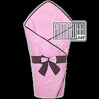Плед-конверт на лето 80х80 для выписки из роддома тонкий верх подкладка хлопок внутри синтепон 4056 Розовый 4