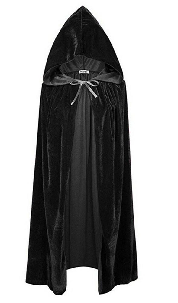Черная накидка с капюшоном велюровая 110 см (костюмы на Хэллоуин)