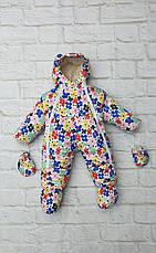 Зимний детский теплый комбинезон-трансформер 2в1 на овчине от 0 до 1 года: курточка, конверт, комбинезон, фото 3