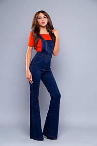 Комбинезон женский джинсовый клеш змейка сзади AniTi 108, синий