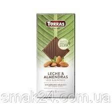 Шоколад молочный без сахара и глютена с миндалем Torras Stevia  125 г Испания
