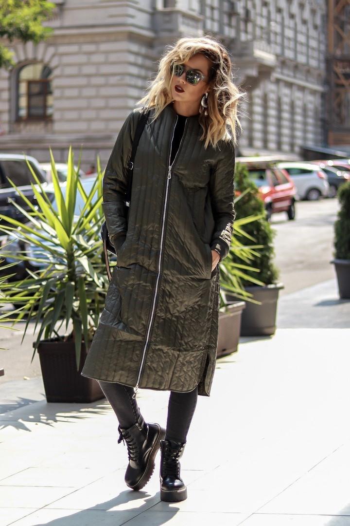 Длинная женская стеганая куртка-пальто 42-46 (в расцветках)