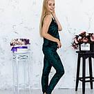 Піжама жіноча з мармурового велюру Julia. Комплект Майка і Штани. Зеленого кольору, фото 4