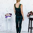 Піжама жіноча з мармурового велюру Julia. Комплект Майка і Штани. Зеленого кольору, фото 5
