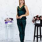 Піжама жіноча з мармурового велюру Julia. Комплект Майка і Штани. Зеленого кольору, фото 2