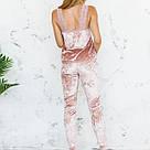 Пижама женская из мраморного велюра Julia. Комплект Майка и Штаны. Пудрового цвета, фото 5