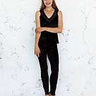 Пижама женская из мраморного велюра Julia. Комплект Майка и Штаны. Черного цвета, фото 3