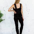 Пижама женская из мраморного велюра Julia. Комплект Майка и Штаны. Черного цвета, фото 5