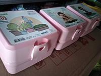 Ланчбокс двойной Турция  ланч бокс контейнер, ланч бокс с отделами розовый, фото 1