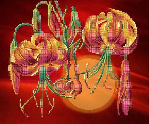 """Рисунок на ткани для вышивания бисером """"Тигровые лилии"""", фото 2"""