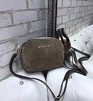 Замшевая женская сумка через плечо маленькая стильная молодежная сумочка клатч беж замша+кожзам, фото 1