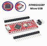 Контролер Arduino Nano ATmega168P CH340 microUSB, фото 3