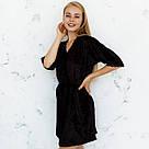 Халат женский  из мраморного велюра Julia. Черного цвета, фото 2
