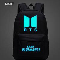 Рюкзак молодежный БТС Schoolbag BTS Army для девочек черный светящийся