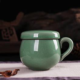 Чашка заварник с керамическим фильтром из лунцюаньского фарфора