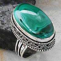 """Овальное кольцо """"Малахит"""" с натуральным малахитом, размер 18.8"""