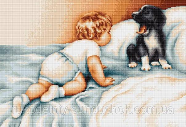 """Набор для вышивания крестом """"Luca-s"""" B374 Мальчик с собакой"""