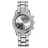 Годинники жіночі наручні Geneva Kors Style Silver під срібло зі стразами