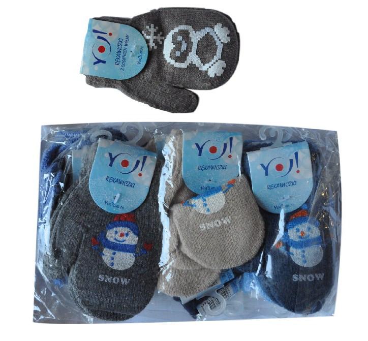 """Варежки YO """"Snow"""" , вязанные , однотонные , для малышей от 1-2 лет ."""