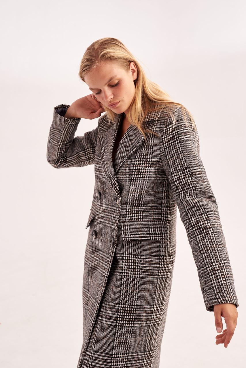 Модное демисезонное женское пальто в клетку 40,42,44 размер
