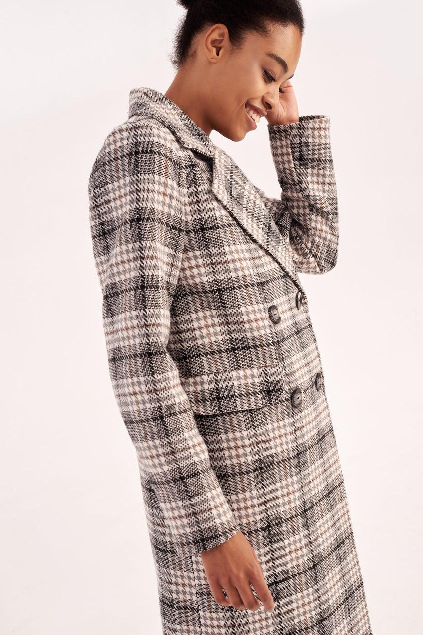 Модне демісезонне жіноче пальто в клітинку 40,42,44 розмір