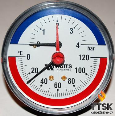 """Термоманометр аксиальный TIM 80 1/2"""", 0-4бар, 120 гр Watts"""