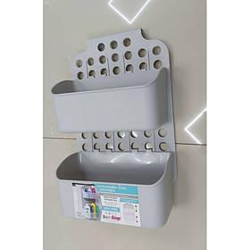 Навесной органайзер на дверку кухни/ванной Светло-серый Dunya 09167
