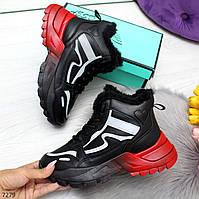 Зимние женские черные кроссовки сникерсы омбре со светоотражающими вставками, фото 1