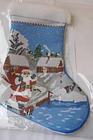 Сшитая заготовка для вышивки бисером новогодний сапожек ЮМА С 1 сшитый
