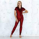 Пижама женская из мраморного велюра Julia. Комплект Футболка и Штаны. Бордового цвета, фото 2