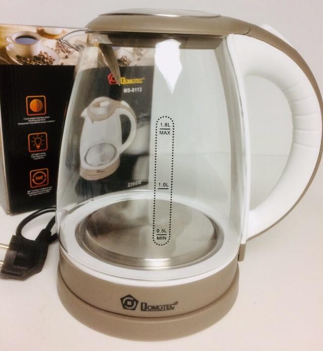 Чайник стеклянный DOMOTEC MS-8113 (12 шт/ящ)