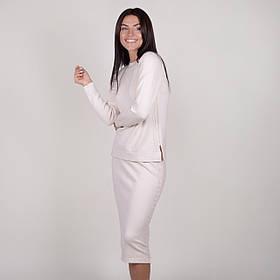 Приятный трикотажный женский костюм с юбкой миди и кофточкой в 5 цветах в универсальном размере 42-46