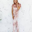 Пижама женская из мраморного велюра Julia. Комплект Футболка и Штаны. Пудрового цвета, фото 3