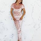Пижама женская из мраморного велюра Julia. Комплект Футболка и Штаны. Пудрового цвета, фото 2