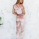Пижама женская из мраморного велюра Julia. Комплект Футболка и Штаны. Пудрового цвета, фото 4