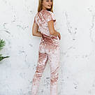 Пижама женская из мраморного велюра Julia. Комплект Футболка и Штаны. Пудрового цвета, фото 5