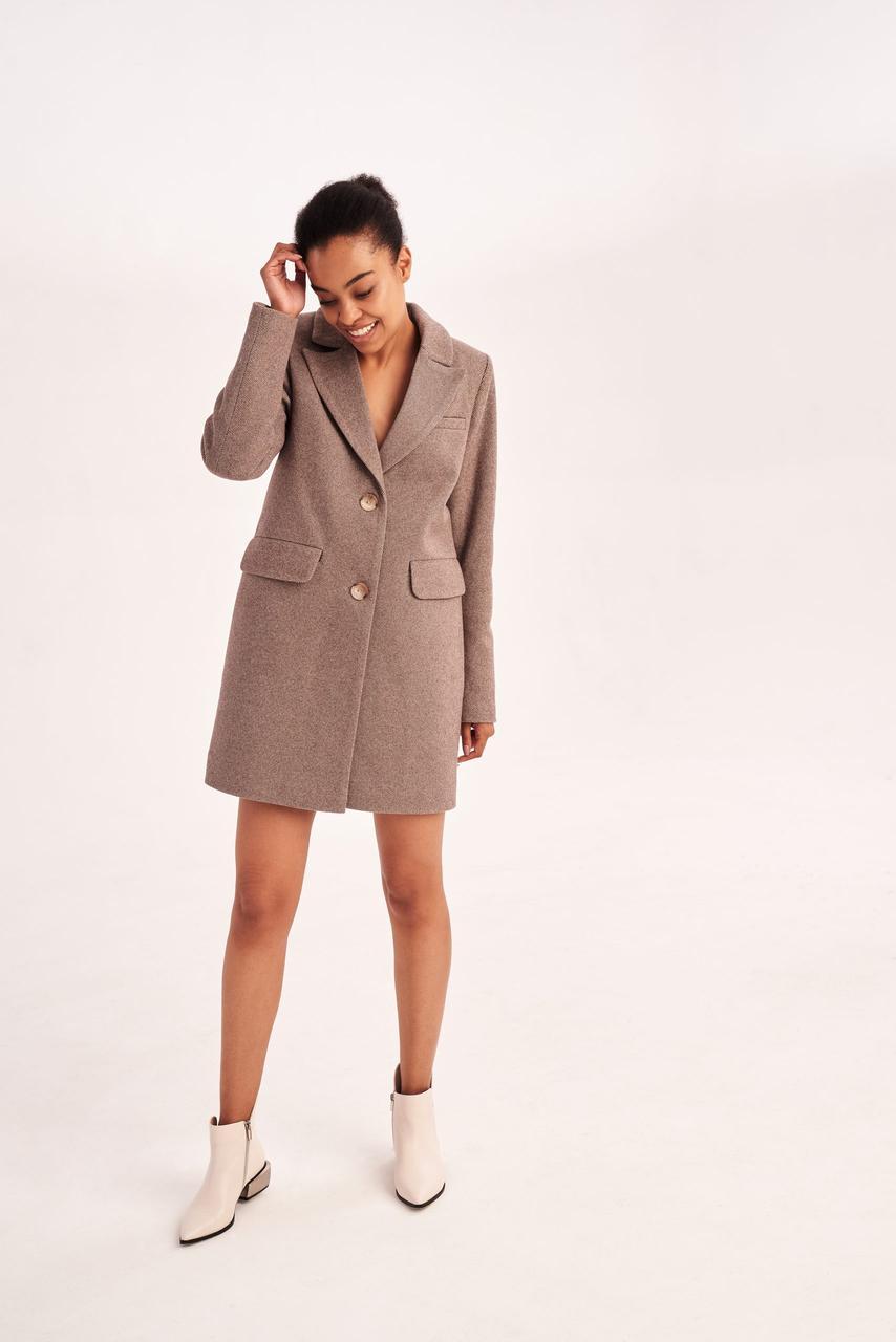 Модное женское короткое пальто с отложным воротником 40,42,44,46 размер