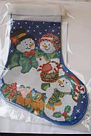 Сшитая заготовка для вышивки бисером на атласе новогоднего сапожка С2