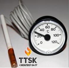 Термометр капиллярный круглый ф37 мм с выносным датчиком 1м