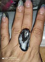 """Серебряное кольцо с друзой  агатом  """"Скала"""", размер 18.7, фото 1"""