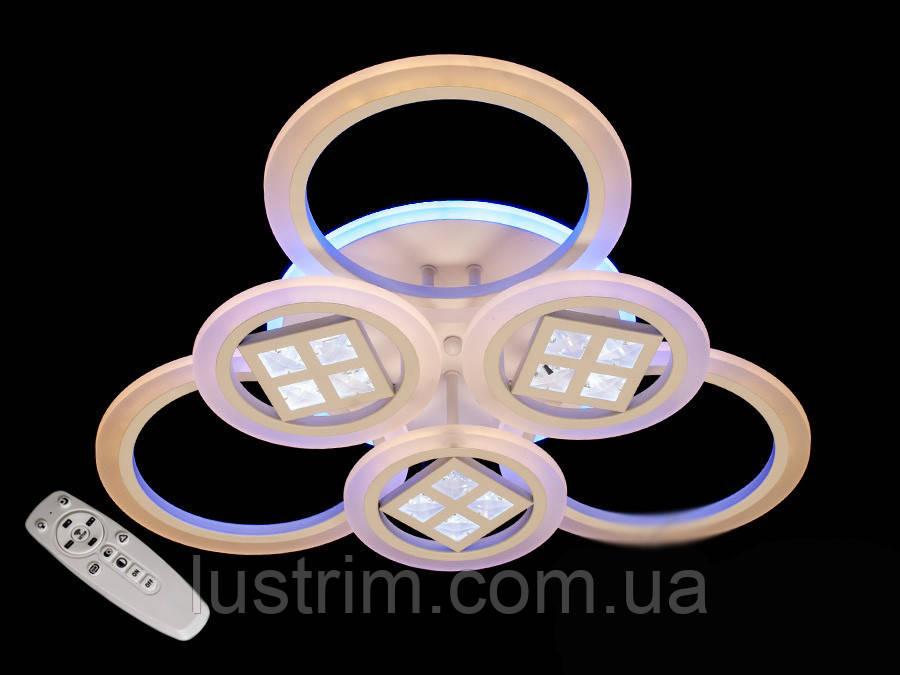 Светодиодная люстра с диммером и цветной подсветкой 135W