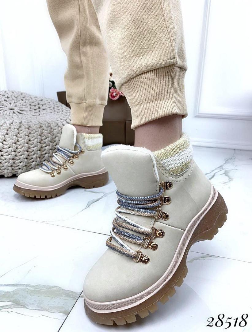 Ботинки с вязаной вставкой 28518