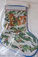 Сшитая заготовка для вышивки бисером на атласе новогоднего сапожка С 3