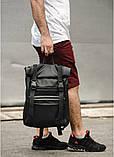 Стильный мужской рюкзак роллтоп черный городской, для деловых поездок, ноутбука, офисный, фото 8