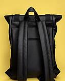 Стильный мужской рюкзак роллтоп черный городской, для деловых поездок, ноутбука, офисный, фото 9