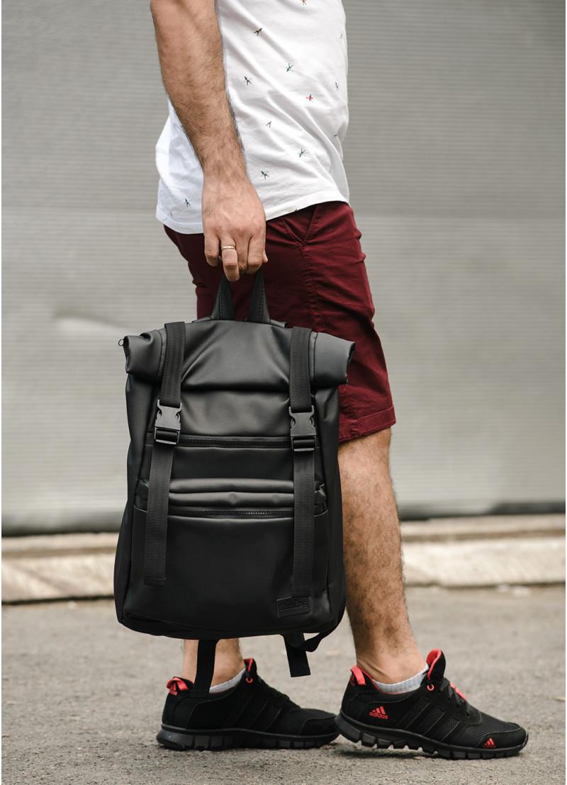 Мужской рюкзак черный роллтоп из матовой эко-кожи городской, повседневный, для ноутбука 15,6