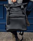 Мужской рюкзак черный роллтоп из матовой эко-кожи городской, повседневный, для ноутбука 15,6, фото 7